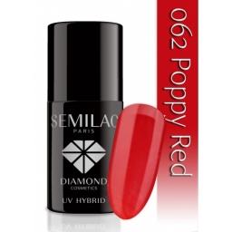Lakier hybrydowy Semilac 062 Poppy Red  - 7 ml