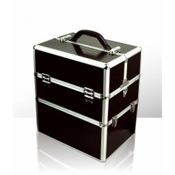 Kuferek kosmetyczny - dwuczęściowy - KROKODYL - Czarny Duży
