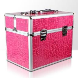 Kuferek rozkładany jednoczęściowy na lampę LCD lub UV - różowy krokodyl