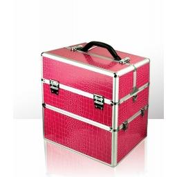 Kuferek kosmetyczny - dwuczęściowy - KROKODYL - Malinowy