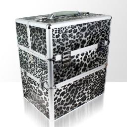 Kuferek kosmetyczny - dwuczęściowy - PANTERKA SZARA