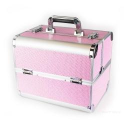 Rozkładany Kuferek - Różowy z cyrkoniami Neon Pink