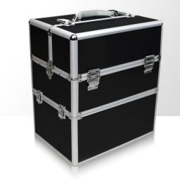 Kuferek kosmetyczny - dwuczęściowy - GŁADKI - czarny ze srebrnymi okuciami