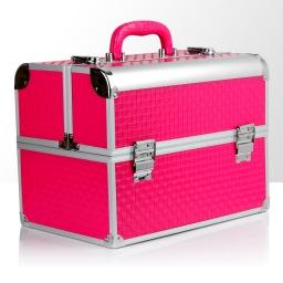 """Kuferek rozkładany jednoczęściowy """"De Luxe"""" - różowy krata"""