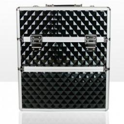 Kuferek kosmetyczny dwuczęściowy – FAKTURA 3D - CZARNY