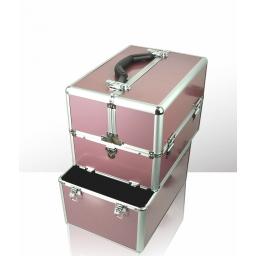 Kuferek kosmetyczny - dwuczęściowy - gładki różowy