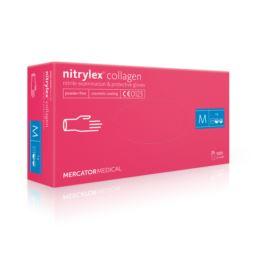 Rękawice nitrylowe nitrylex różowe z kolaganem M