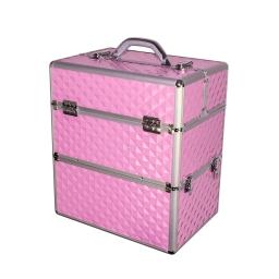 Duży kuferek dwuczęściowy 2w1 faktura 3D różowy