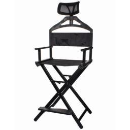 Krzesło do Wizażu Składane Czarne z Zagłówkiem