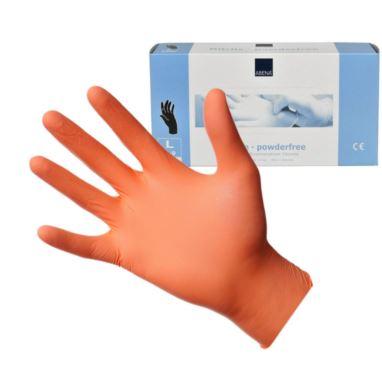 Abena, rękawice nitrylowe pomarańczowe L 10x100szt
