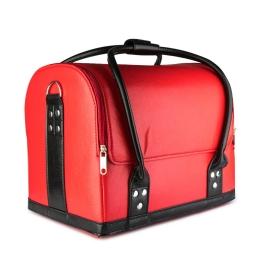 Kuferek skórzany czerwony z czarnymi paskami