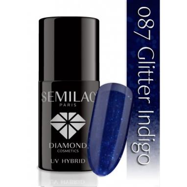 Lakier hybrydowy Semilac 087 Glitter Indigo - 7 ml