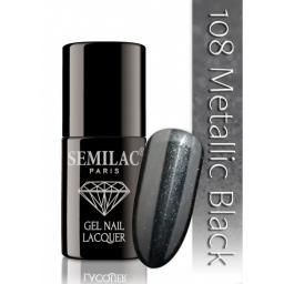 Lakier hybrydowy Semilac 108 Metalic Black - 7 ml