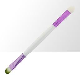 Pędzelek z pacynką - biało-fioletowy (zielone włosie) - 1szt.