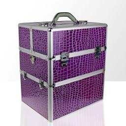Kuferek kosmetyczny - dwuczęściowy - KROKODYL - Fioletowy