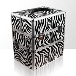 Kuferek kosmetyczny - dwuczęściowy - ZEBRA