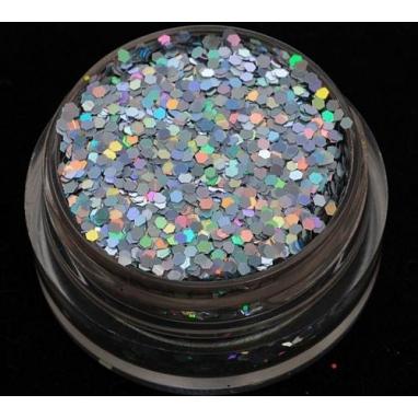 Brokat Srebrny Hologram  1 mm. Pojemność 5 ml.