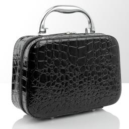 Kuferek-kosmetyczka - mały - czarny krokodyl
