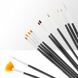 Zestaw pędzelków do żelu, akrylu i zdobień - 12 elementów - czarny
