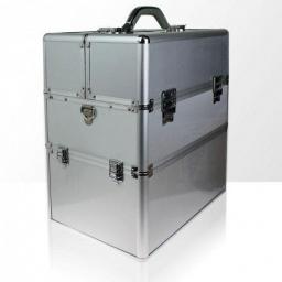 Kuferek kosmetyczny dwuczęściowy - gładki - srebrny