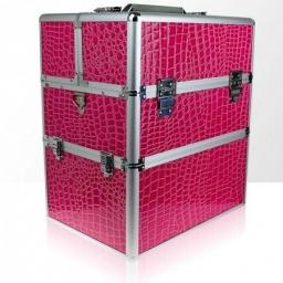 Kuferek kosmetyczny dwuczęściowy – krokodyl - różowy
