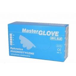 Rękawiczki winylowe pudrowane niebieskie rozmiar M. 10 szt. Master Glove