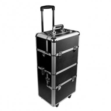 Walizka kosmetyczna na kółkach Czarna/ Professional cosmetic trolley case Black