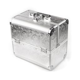 Kuferek aluminiowy srebrny zdobiony