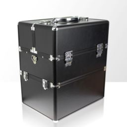 Kuferek kosmetyczny - dwuczęściowy GŁADKI - czarny