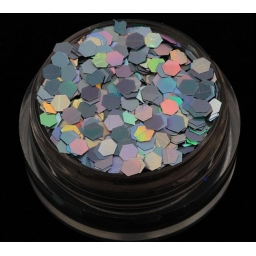 Brokat Srebrny Hologram 2.5 mm. Pojemność 5 ml.