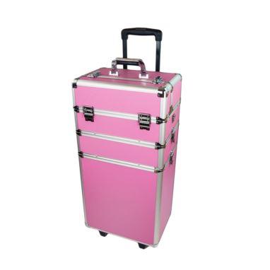 Walizka kosmetyczna na kółkach Różowa/Professional