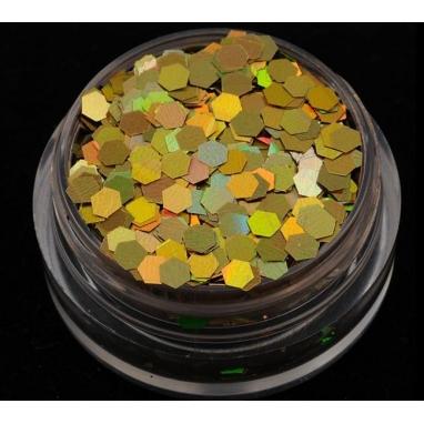 Brokat Złoty Hologram 2.5 mm. Pojemność 5 ml.