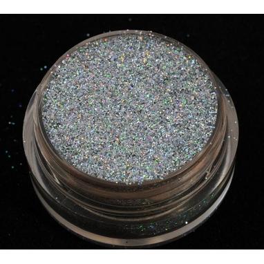 Brokat Srebrny Hologram 0.2 mm. Pojemność słoiczka 5 ml.