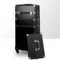 Kufer kosmetyczny - duży dwuczęściowy z kółkami - DK-1A - CZARNY