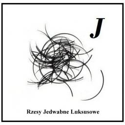 Rzęsy Jedwabne. Profil J. Grubość 0,25. Długość 9mm