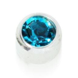 STUDEX Cyrkon niebieski w oprawie pełnej srebrny