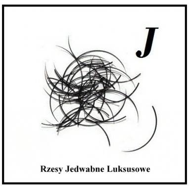 Rzęsy Jedwabne. Profil J. Grubość 0,25. Długość 13mm.