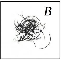 Rzęsy Jedwabne. Profil B. Grubość 0,25. Długość 15
